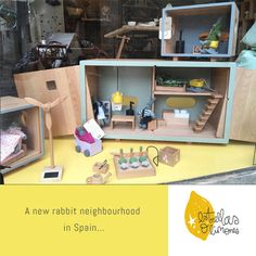 A new rabbit neighbourhood in Spain  Doll house wooden toys