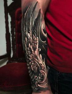3D wing sleeve tattoo - 35 Breathtaking Wings Tattoo Designs