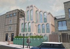 "The home will be built between a heritage-listed school and a modern, brick home on a street that has buildings in a variety of architecture styles.  It was the arches at St Martin's Church, which stands opposite the site and was referred to by architectural writer Nicholas Pevsner as ""the craziest of London's Victorian churches"", that informed the houses' many arches. 1920s Interior Design, Victorian Cottage, Victorian Decor, London Market, Plan Drawing, Colourful Buildings, Bright Homes, Storey Homes, Craftsman Bungalows"