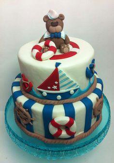 Marinero Nautical Baby, Nautical Theme, Baby Shower Cakes, Baby Boy Shower, Pirate Party, Cake Art, Cake Decorating, Birthday Cake, Teddy Bear