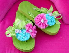 Flip Flops embellished with fabric flowers by SugarButtonsClothing, $28.00
