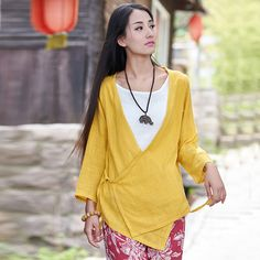 Solid Yellow White Novelty Design Women Blouses Loose Casual Summer style Shirts Brand Purple Casual Kimono Blouse Blusas B043