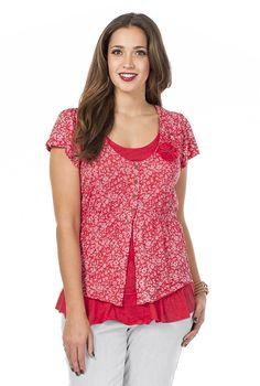 Typ , T-Shirt, |Materialzusammensetzung , 60% Baumwolle, 40% Polyester, |Ausschnitt , Rundhals, |Ärmelstil , kurz, |Optik , Gecrashtes T-Shirt mit Blumenapplikation vorn und Ausbrennern, |Gesamtlänge , ca. 70 bis 78 cm, | ...