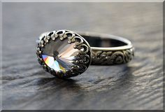 Sterling Silver Cubic Zirconia Ring April by thewrappedpixie