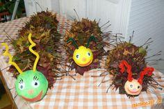 Tvoření s dětmi housenky z listí