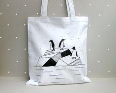 Sac fourre-tout coton pingouins par okapiillustration sur Etsy