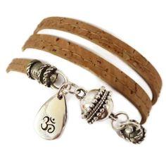 Cork Wrap Bracelet with Sterling Om Drop Charm, wrap bracelet, yoga jewelry, yoga bracelet, om jewelry, namaste jewelry via Etsy