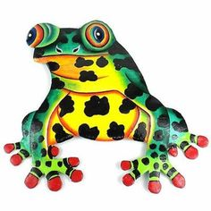 Hand Painted Metal Bullfrog Tropical Design - Caribbean Craft