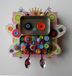 "Recycled Art Assemblage - ""Button Fairy Bot"" - Original Mixed Media"
