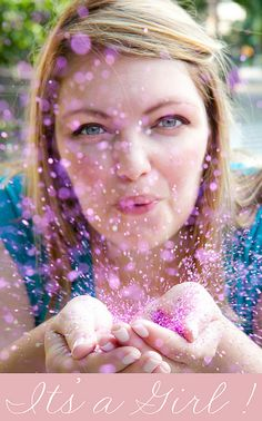 StefanieBlowingGlitter_Itsagirl_WEB by MrsLimestone, via Flickr...SUCH A ORIGINAL GENDER REVEAL IDEA!