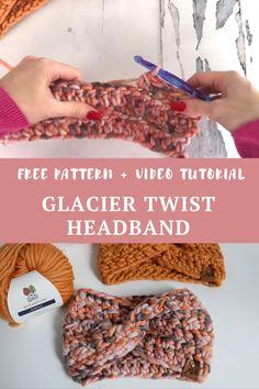 Glacier Twist Headband - Free Crochet Pattern Free crochet pattern and video tutorial. Crochet Twist, Chunky Crochet, Cute Crochet, Crochet Crafts, Crochet Yarn, Crochet Projects, Crotchet, Crochet Ear Warmer Pattern, Crochet Headband Pattern