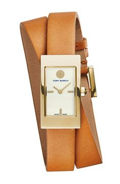 Tory Burch just launched a line of timepieces. Love this rectangular wrap leather strap watch. Go with everything color!