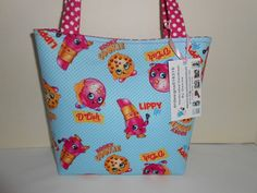 Kids Girls Shopkins Blue Cotton Fabric Handmade Handbag Purse Tote New #2 #Handmade
