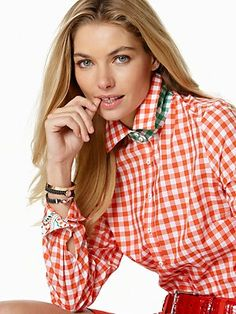 woven gingham. embroidery detail under collar and cuffs. nadine shirt, made in austria.