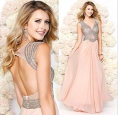 Vestidos Sexy Sequin Pink Chiffon Beaded Prom Dresses 2015 Floor Length Open Back Sexy Luxury Formal Gowns Evening Dresses #dhgatePin