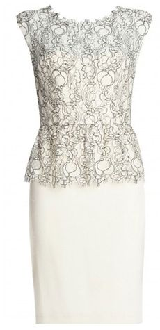 Shovan Lace Peplum Dress by alice + olivia. This dress shows off your figure and highlights utter femininity. It features a cream skirt and bodice with light black and white lace overlay. The overlay finished with a pretty peplum and topped off with capped sleeves. http://www.oxygenboutique.com/p-1194-shovan-lace-peplum-dress.aspx