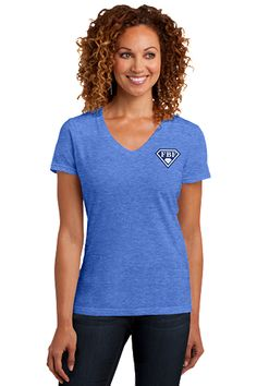 FBF Ladies V-Neck with Shield Logo Left Chest - Blue