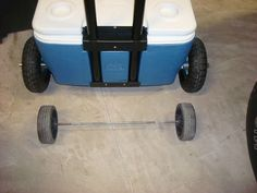 """change the wheels """"I needed bigger wheels on my cooler to be able to use it on the beach and carry some extra stuff on top of it for camping."""""""