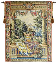 """^click photo to enlarge^  Versailles is a European jacquard wall tapestry. The artwork originates with 12 wonderful tapestries commissioned by Charles Le Brun from the La Manufacture des Gobelins. They depict the various Royal Houses belonging to King Louis XIV.  Jacquard woven in Belgium Backed with lining Rod tunnel for easy hanging Cotton and Wool Blend Available in 1 size W 26"""" x H 33"""" Rod and Tassels sold separately"""