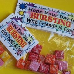 """starburst """"bursting"""" candy bag topper- change up wording for Valentines day (Valentins Day Candys Bags) School Treats, School Gifts, Student Gifts, Teacher Gifts, Student Treats, Teacher Stuff, School Lunches, 1st Day Of School, Beginning Of School"""