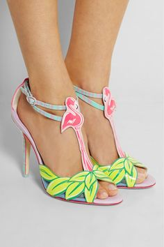 Sophia Webster | Flamingo patent-leather sandals | NET-A-PORTER.COM