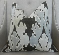 Decorative Designer Lumbar Pillow Cover - Kelly Wearstler for Lee Jofa - 18X18 -  Bengal bazaar in Graphite - Pattern on the front
