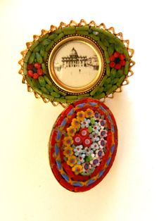 Vintage Italian 1950s fine micro mosaic brooches by RAKcreations