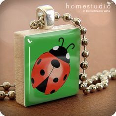 Ladybug (GRN) : pendant jewelry from a Scrabble tile. Necklace Scrabble piece. Home Studio jewelry gift present. on Etsy, $9.00