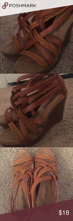Womens Brown wedges- perfect for summer! Light brown/brown mixture, incredibly comfortable and feel weightless in feet. Super easy to walk in and go with anything spring/summer! Worn once last summer and have been sitting in my closet! Shoes Sandals