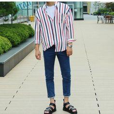 Korea Fashion, Fashion Line, Fashion Looks, Mens Fashion, Kpop Outfits, Fashion Outfits, Male Outfits, Mens Clothing Styles, Men's Clothing