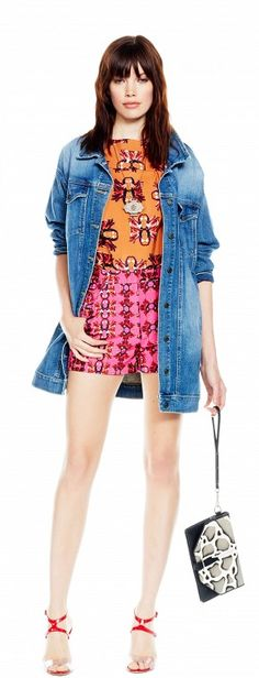 The perfect way to ground a bright color palette? With a seasonally on-point denim jacket.
