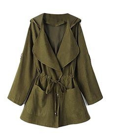 HTOOHTOOH Women s Elegant Open Front Waterfall Trench Coat Cardigan Style  Army green XS Hooded Raincoat 99a4b5630