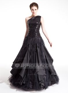 A-Line/Princess One-Shoulder Floor-Length Taffeta Tulle Sequined Prom Dress With Ruffle Cascading Ruffles (018004860)