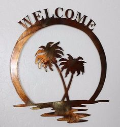 Palm Tree Metal Wall Art steelers metal wall artibdesignz on etsy | metal art