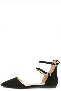 Outer Space Black Suede Ankle Strap Flats at Lulus.com!