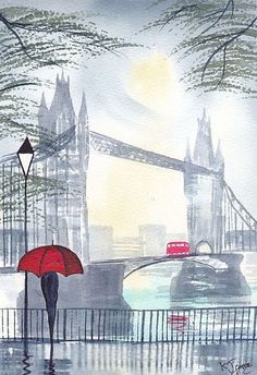 Misty Morning London by Artist KJ Carr Umbrella Painting, Umbrella Art, London Art, Art Portfolio, Belle Photo, Travel Posters, London England, Vintage Posters, Watercolor Art