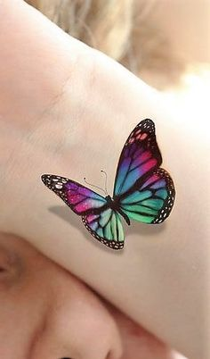 Butterfly Tattoo - See the newest tattoo designs Realistic Butterfly Tattoo, Colorful Butterfly Tattoo, Butterfly Tattoos For Women, Butterfly Tattoo Designs, Butterfly Design, Butterfly Pictures, Butterfly Hand Tattoo, Hand Tattoos, Flower Tattoos