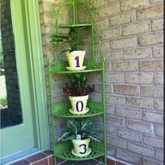 Painted house number on pots