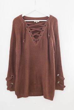 Chunky knit sweater tunic Lace-up front Long sleeves with criss-cross strap  side detailing Slightly loose fit Size S M measures approx. in length  Cotton ... 277c9423f