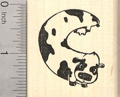 Spotted Cow Rubber Stamp Cattle Shaped like a Letter C ** You can get more details by clicking on the image.