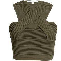Rib Wrap Tank Jonathan Simkhai ($335) ❤ liked on Polyvore featuring tops, shirts, crop top, crop, strappy crop top, strappy top, wrap shirt, wrap crop top and ribbed shirt