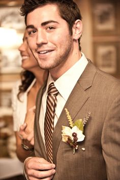 Brown Tux - just different tie and flowers