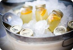 Instead of serving cans of soda, serve pint jars of lemonade and or sweet tea.---  Thjis would be so cute at a shower/party... :)