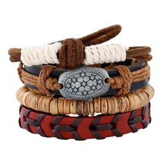 4 in 1 sets DIY best match men bracelet woven leather bracelets for man womens Rope coconut shell jewelry Accessories