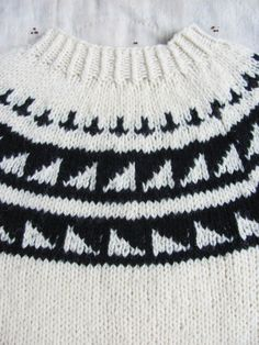 vintage c. 1980s chunky hand knit wool sweater with geometric patterned bib by MouseTrapVintage, $68.00
