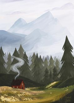 Mountain Illustration, Forest Illustration, Watercolor Illustration, Arte Peculiar, Mountain Art, Wow Art, Landscape Art, Forest Landscape, Oeuvre D'art