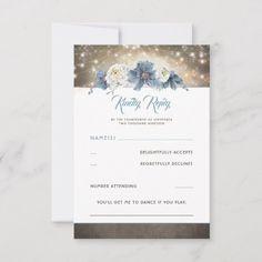Shop Dusty Blue Floral Rustic Wedding RSVP created by lovelywow. Monogram Wedding Invitations, Sunflower Wedding Invitations, Burgundy Wedding Invitations, Country Wedding Invitations, Shower Invitations, Invites, Wedding Rsvp, Rustic Wedding