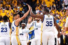 Stephen Curry and Kevin Durant of the Golden State Warriors high five each other during the game against the Cleveland Cavaliers during Game One of. Warrior High, 2017 Nba Finals, Stephen Curry Pictures, Golden State Warriors Pictures, Nba Live, Nba Champions, High Five, Game 1, Kevin Durant
