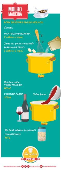 MOLHO MADEIRA                                                                                                                                                     Mais Just Cooking, Cooking Time, Cooking Recipes, Menu Dieta, Sauces, Portuguese Recipes, Happy Foods, Food Illustrations, Snacks
