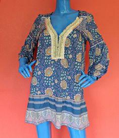 Free People Medium Tunic Boho M Blue Floral Mini Dress ¾ Sleeve Top 8 10 12 Sexy #FreePeople #Tunic #Casual
